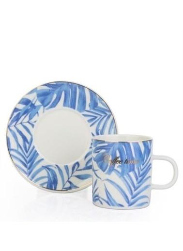 Acar Mavi Tropikal Porselen 2'Li Kahve Takımı Renkli